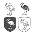 heraldic shields with crane vector image vector image