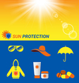 Item for Sun protection and sun shine background vector image