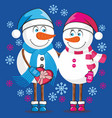 lovers snowmen vector image