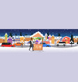 man buying mulled wine in hot drinks stall with vector image