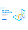 money transfer on mobile phones dollar coins vector image vector image