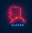 neon map state of alaska on dark background vector image