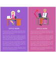 office work banners man woman at workplace vector image vector image