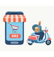 online shopping using smartphone fast delivery vector image vector image