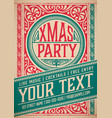 retro christmas party invitation holidays flyer vector image vector image