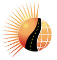 road sun and globe logo concept of vector image