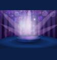 round pedestal in violet color tones vector image vector image