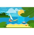 Seascape with Surfer Summer Banner vector image vector image