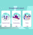 set mobile app pages about winter holidays at vector image vector image