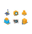 set of 3d icons related to warehouse and vector image