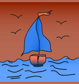 ship with scarlet sails is floating on the waves vector image vector image