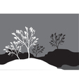 Silhouettes of tree in snow vector image