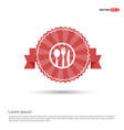 spoon and fork icon - red ribbon banner vector image