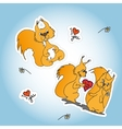 Stickers with two loved squirrel vector image