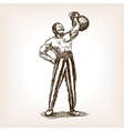 Strong man with kettlebell sketch vector image vector image