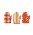 textile cooking gloves vector image vector image