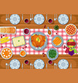 thanksgiving greeting card dinner table in flat st vector image vector image
