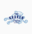 the kraken seafood and fish restaurant abstract vector image