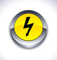 warning 3d button vector image vector image