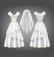 white wedding woman dress with tulle veil vector image