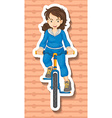 Woman in jumpsuit riding bicycle vector image