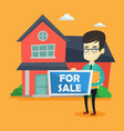 young asian realtor offering house vector image vector image