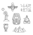 Egypt travel and ancient sketch icons vector image
