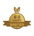 easter gold label with ribbon bunny concept vector image