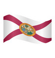 flag of florida waving on white background vector image