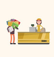 a man buys a lot of gifts in a store discount vector image