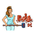 a woman with a hammer breaks prices buyer vector image vector image
