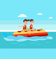 banana boat people summer activity boy and girl vector image vector image