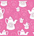 birght pink and white teapots seamless pattern vector image vector image