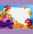 blank paper template with exotic fishes cartoon vector image