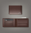 brown natural leather wallet closed and vector image