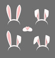 bunny ears mask set vector image vector image