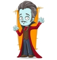 Cartoon funny pale vampire in red cloak vector image vector image