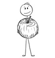 cartoon of smiling man holding big apple fruit vector image