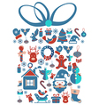 Christmas Gift with Christmas icons vector image vector image
