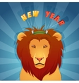 Concept of wild animal lion in winter vector image