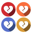 crushed heart flat stylized object with long vector image vector image