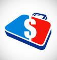 dollar briefcase logo vector image vector image