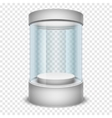 Empty glass shop cylinder showcase display box on vector image vector image