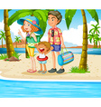 family trip to beach vector image