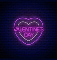 glowing neon valentines day sign with heart vector image vector image