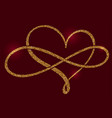 golden calligraphic heart and a sign of infinity vector image