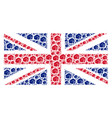great britain flag mosaic of fist items vector image vector image