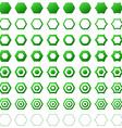 Green hexagon icon template set vector image vector image