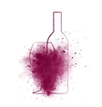 grunge wine bottle with glass and grapes vector image vector image