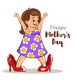 happy girl trying to wear her moms high heels vector image vector image